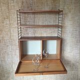 STRING TEAK SHELF WITH BAR
