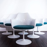 SET OF 6 TULIP ARMCHAIRS WITH SWIVEL BASE BY E. SAARINEN
