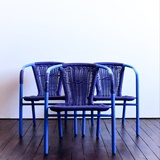 SET OF 3 CHILDREN'S CHAIRS IN BLUE PVC