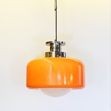 HANGING LAMP IN ORANGE PLASTIC AND GLASS