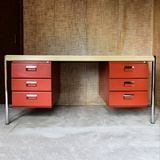 DESK IN ORANGE AND BEIGE METAL BY STRAFOR