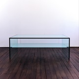 COFFEE TABLE IN GLASS WITH SHELF IN FROSTED GLASS